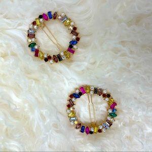 Set of 2 hair clips rhinestone gold. NEW